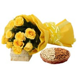The Yellow Rose Bouquet and Assorted Nuts Set