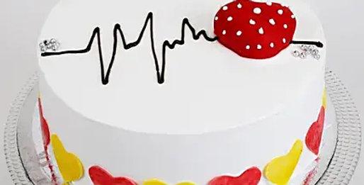Heart Beat Chocolate Fondant Cake