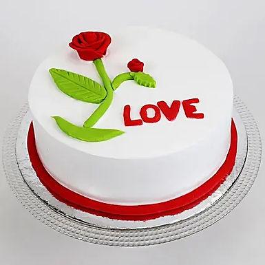 Red Rose Love Fondant Cake