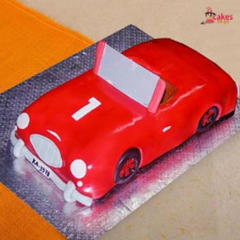 Red Car-Shape Fondant Cake