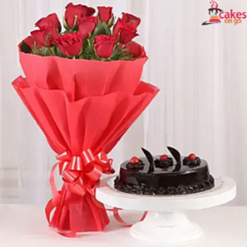 Red Roses Bouquet with Chocolate truffle cake Combo