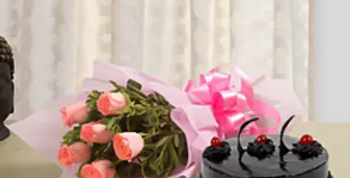 Pink Roses Bouquet with Chocolate Truffle Cake
