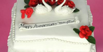 Swan Pair Anniversary Fondant Cake