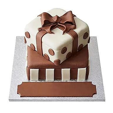 2 tier gift Box Fondant Cake Chocolate