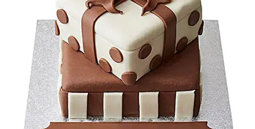 2 tier gift Box Fondant Cake Chocolate