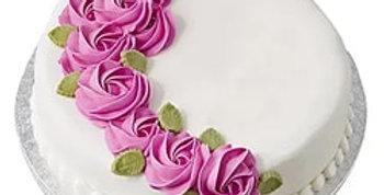 Pink Flowers Fondant Cake