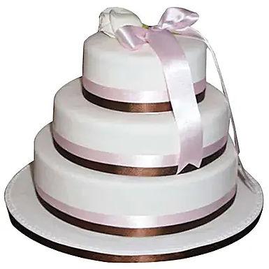 3 Tier White Fondant Cake