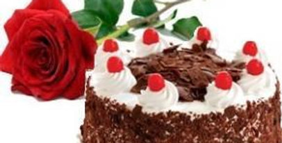 The Single Rose and Black Forest Cake Combo