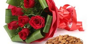 Red Rose Bouquet with Almonds Basket