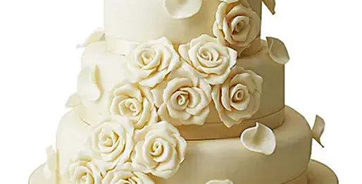 3 Tier Classy White Roses Cake