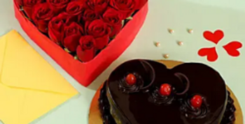 Red Roses Heart Shaped Arrangement with Chocolate truffle Cake Combo