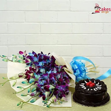 Admirable combo of Orchids and Chocolate Truffle Cake