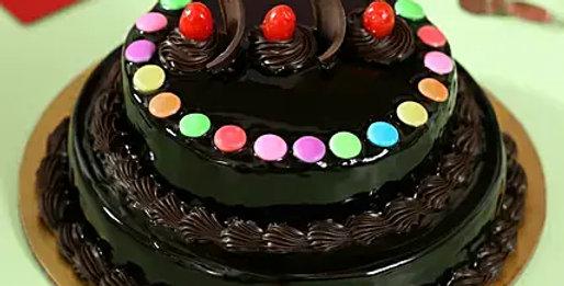 2 Tier Gems Truffle Cake