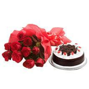 The Red Rose and Black Forest Cake Combo