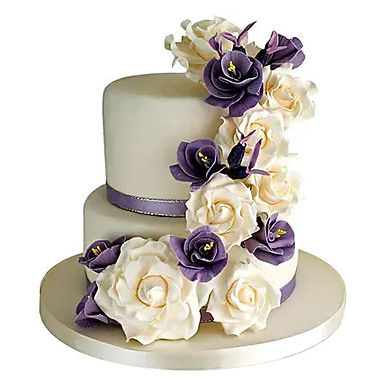 2 Tier Purple Flowers Cake