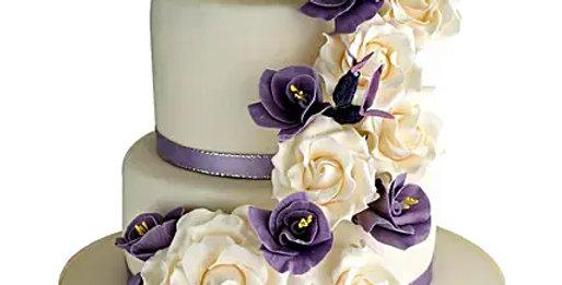 2 Tier Purple Flowers Cake