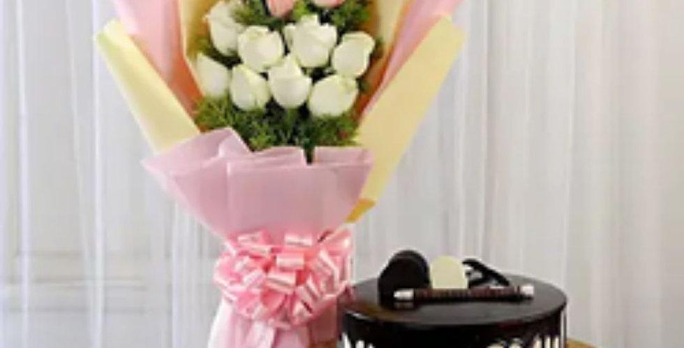 White & Pink Roses with Choco Cream Cake Combo