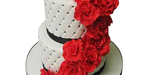 2 Tier Red Roses Cake