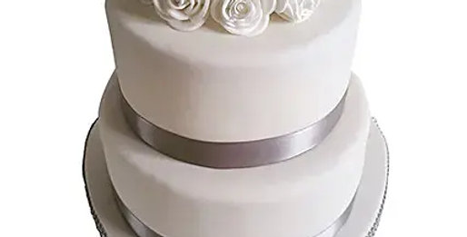 2 Tier White Fondant Chocolate Cake