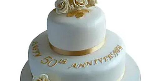 White and Golden Anniversary Cake