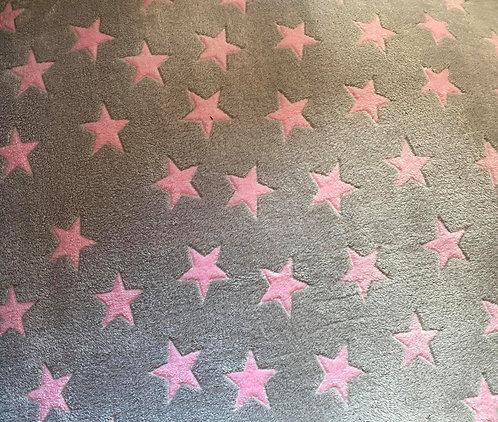 100x70 cm Grå med lyserøde stjerner