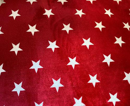 100x70 cm Rød m/ hvide stjerner