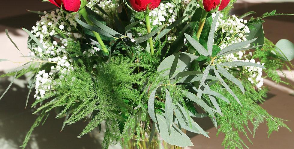One Dozen Long Stem Red Roses
