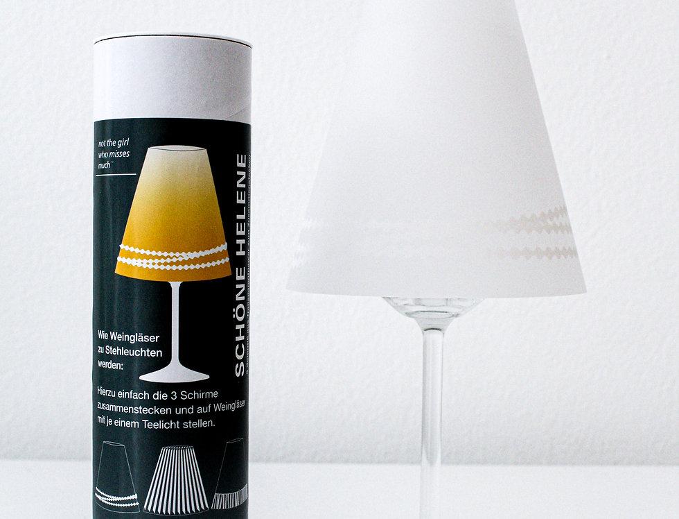 Lampenschirm Schöne Helene 3er-Set Perle/Falte/Franse