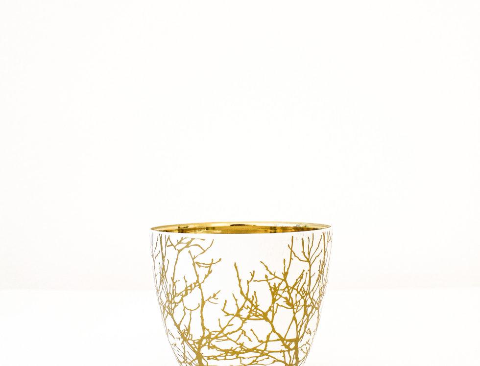 ASA Windlicht Zweige weiß/gold groß