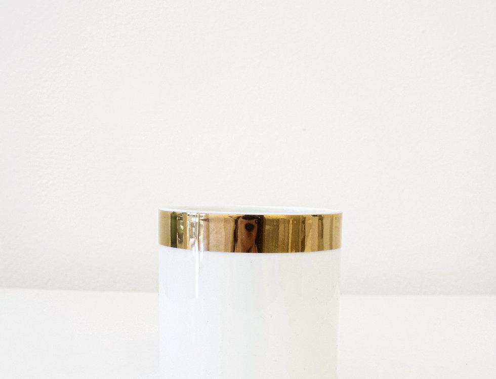 ASA Windlicht Porzellan weiß glänzend mit Goldrand