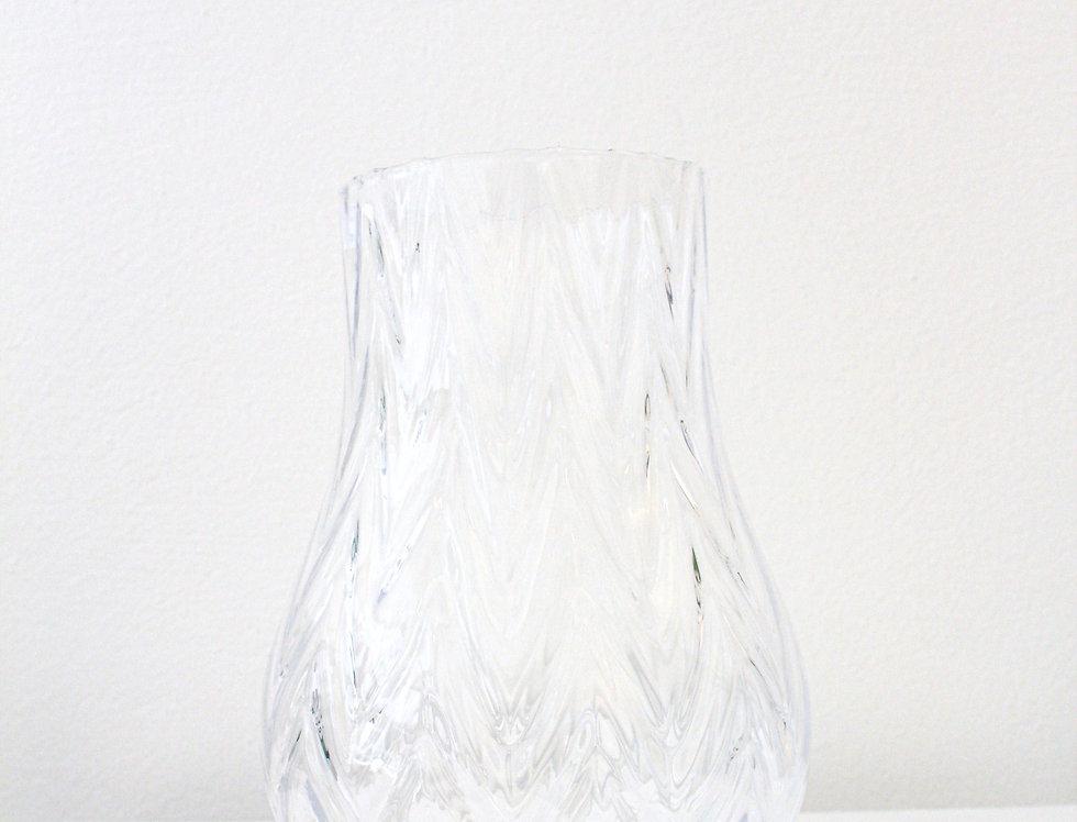 Glasvase klar Struktur Fischgrat