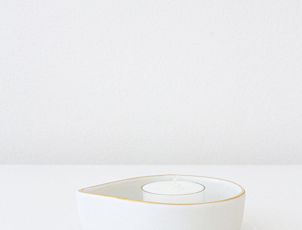 Trevoly Lichterboot Teelicht weiß mit goldenem Rand