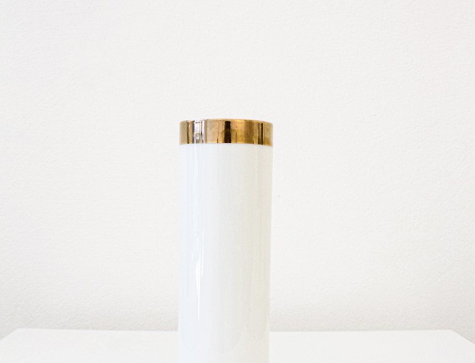 ASA Vase Porzellan weiß glänzend mit Goldrand