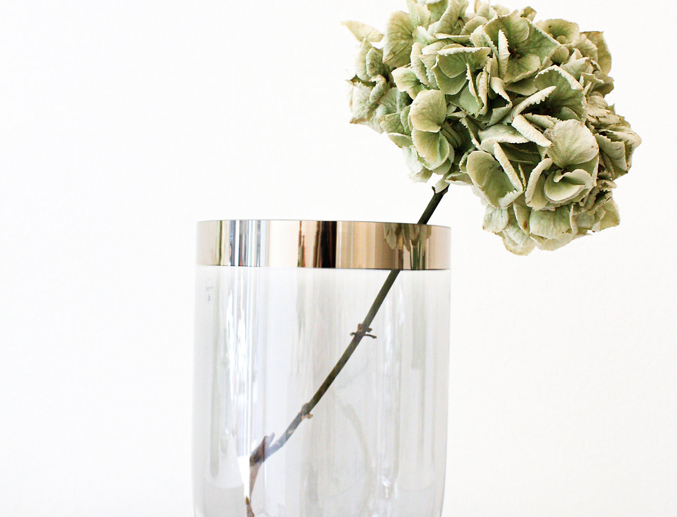 Wittkemper Vase/Windlicht auf Fuß Glas grau mit Luster Platinrand klein
