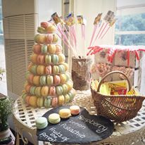 Candy colour macaron tower