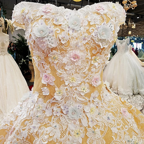 Gold Cream Flowery Gown