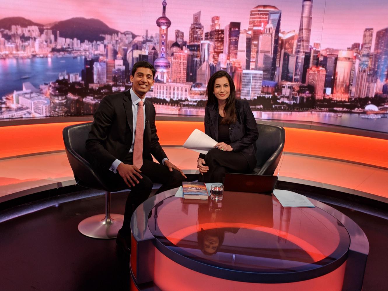 On the set of BBC World News with Yalda Hakim