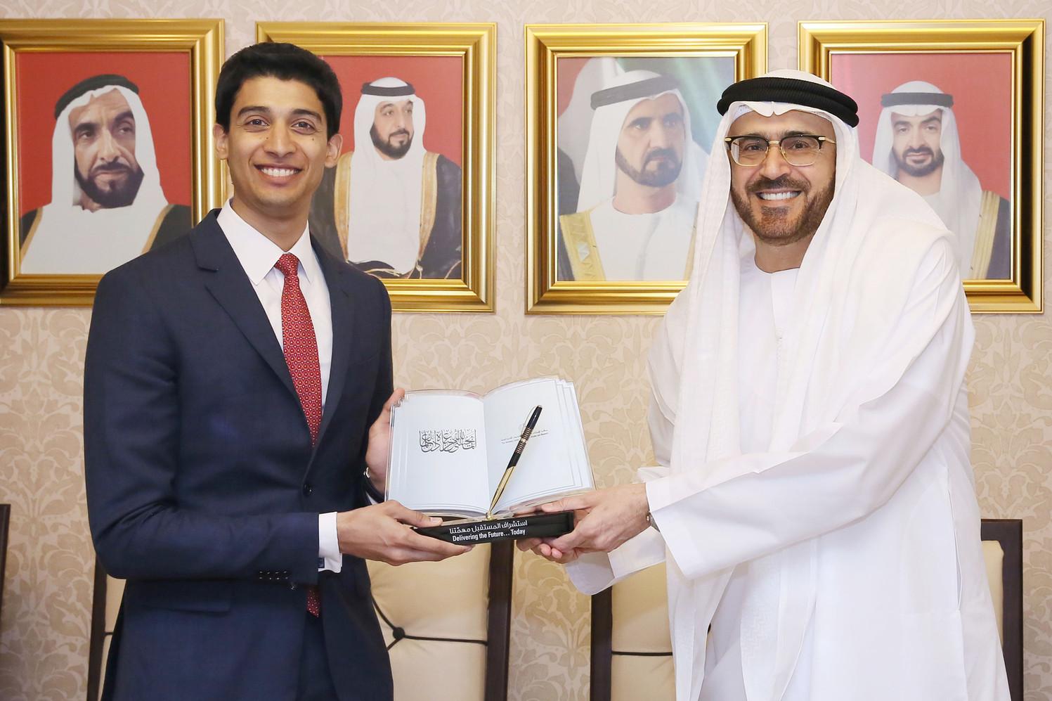 With HE Dr Jamal Sanad Al-Suwaidi at Abu Dhabi Launch