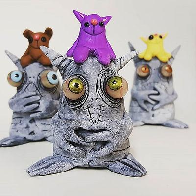 New guys in my etsy shop! #mealymonsters #polymerclayart #monster #lowbrowart
