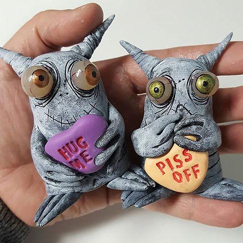 New #monsters in my #etsy_#handmade #sculpture #artwork #artwithhumor #valentinesart #conversationhe