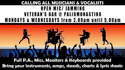 open mic at veteran's bar (mondays and w