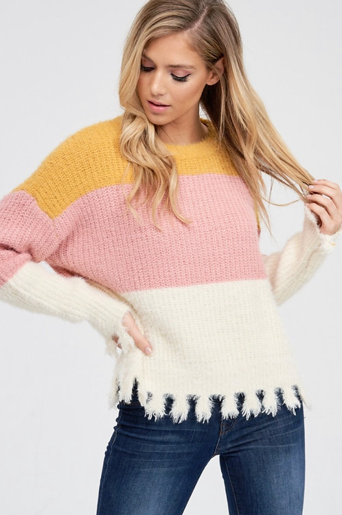 Tri Block Fringe Sweater