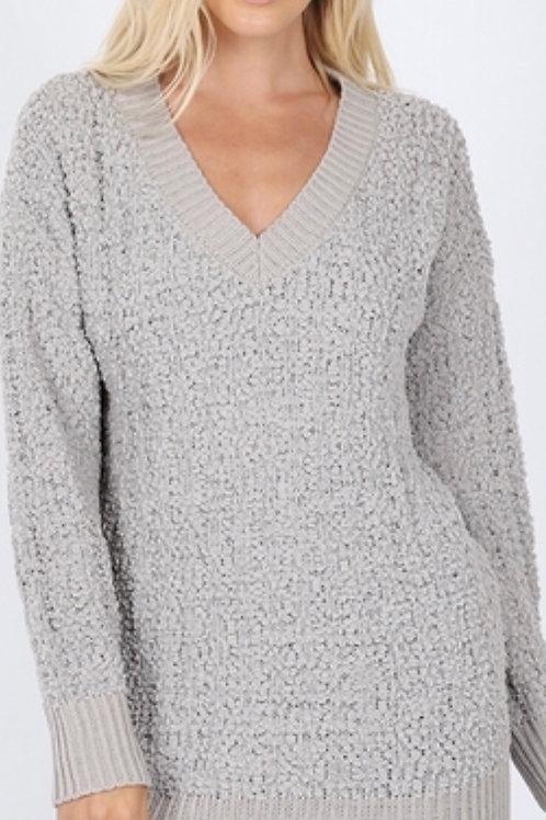 V-Neck Hi-Low Popcorn Sweater