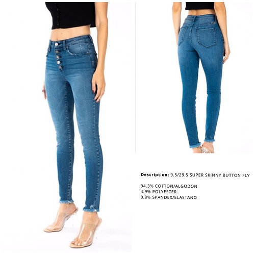 High Rise Super Skinny Multi Button - KanCan Jean