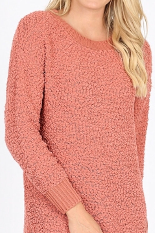 Side Slit Popcorn Sweater