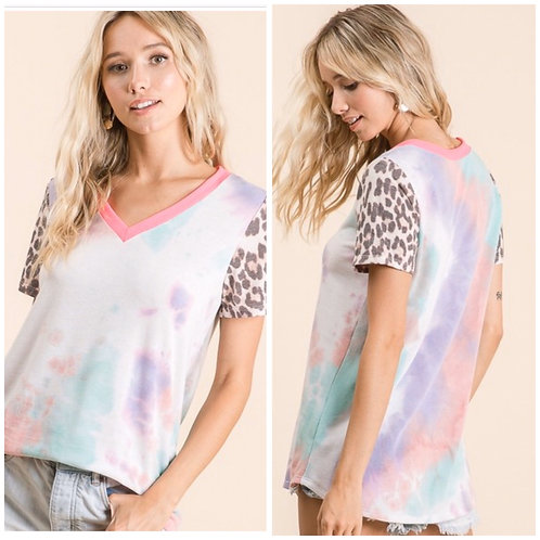Leopard Mint Tye Dye Top