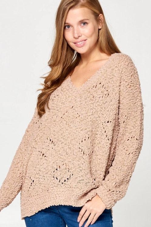Popcorn Mocha Vneck Sweater