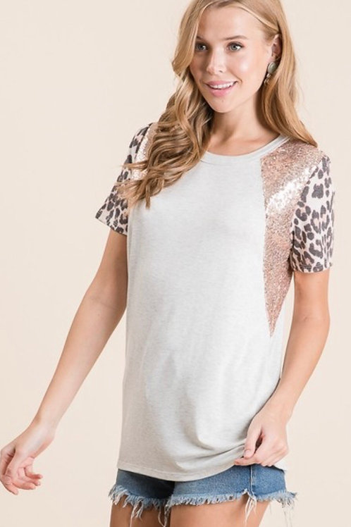 Leopard Sequin Top