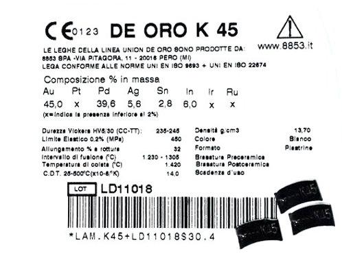 DE ORO K45 Aufbrennlegierung