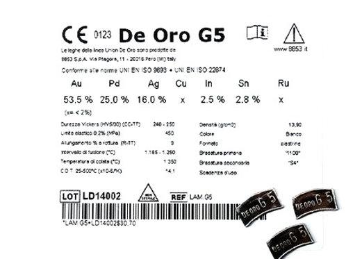 DE ORO G5 Aufbrennlegierung